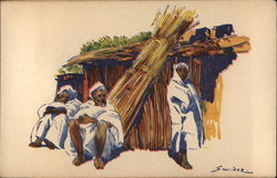 Illustration of North African Men Outside Thatched Hut