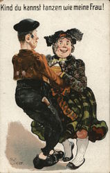 Illustration of Old Couple Dancing