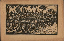 Soldiers on the March, Wood block Print Style