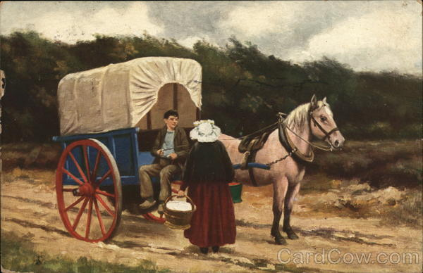 Hico Cocoa - Boy and Woman with Horse Drawn Cart Advertising