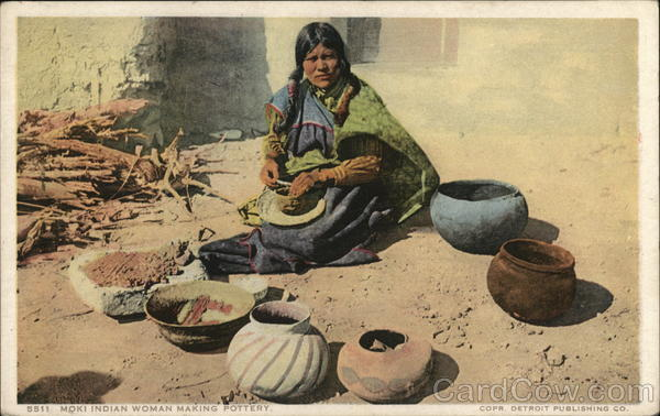 Moki Indian Woman Making Pottery Native Americana