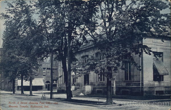 North A Street Showing Post Office and Masonic Temple Richmond Indiana