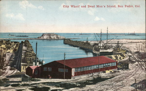 City Wharf and Dead Man's Island San Pedro California