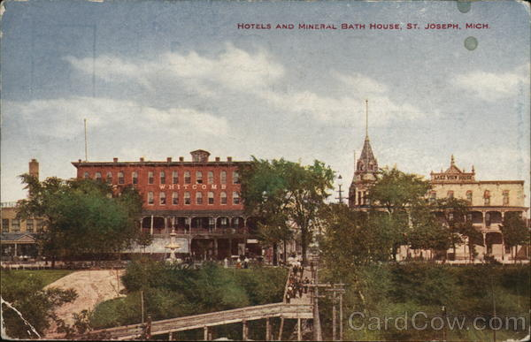 Hotels and mineral bath house st joseph mi postcard for Bath house michigan