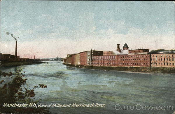 View of Mills and Merrimack River Manchester New Hampshire