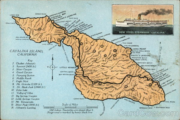 Map of Catalina Island, CA California Maps