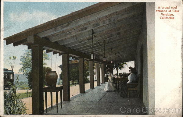 A Broad Cool Veranda at Casa Verdugo Glendale California
