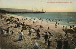 Surf Bathing at Redondo Beach California Postcard
