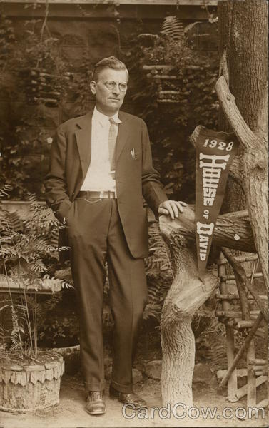 Clean-Shaven Man Standing Near 1928 House of David Pennant Benton Harbor Michigan