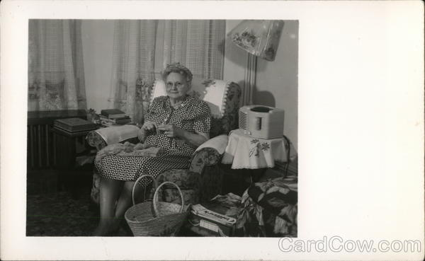 A Woman Sitting in a Chair Knitting Benton Harbor Michigan