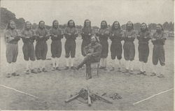 Men's Baseball Team, Standing near Bats