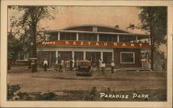 Paradise Park, People Near Building Advertising Rooms, Restaurant