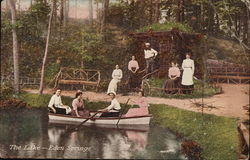 The Lake, Eden Springs - People in Rowboat and on Shore