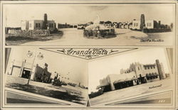 Grande Vista, 3 Photos: Court & Fountain, Service Station, Restaurant Postcard