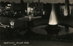 "Night Scene - Grande Vista, ""America's Finest Tourist Court"" Postcard"