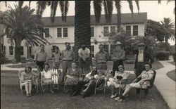 Group from House of David at Sunset Motel Postcard