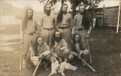 Baseball Players & Dog Postcard