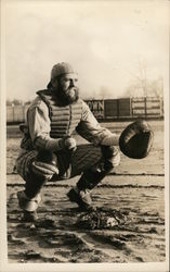 Baseball Catcher Crouching with Ball and Mitt Postcard