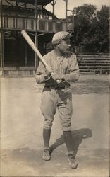 Player in Uniform Baseball Bat Postcard