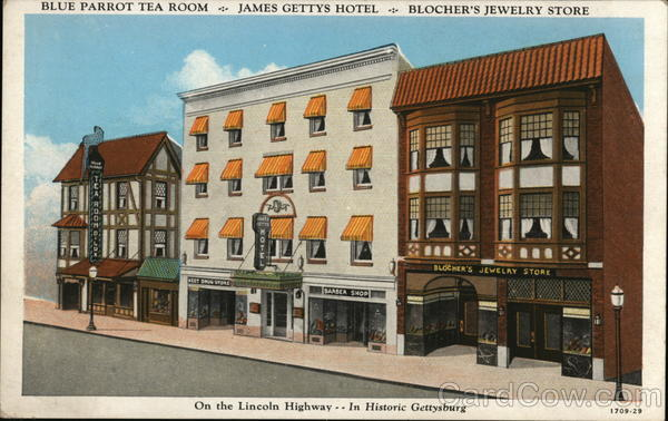Blue Parrot Tea Room, James Gettys Hotel, Blocher's Jewelry Store Gettysburg Pennsylvania