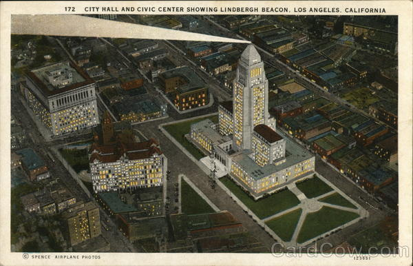 City Hall and Civic Center Showing Lindbergh Beacon Los Angeles California