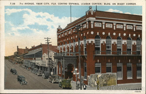 7th Avenue, Ybor City, Fla. Centro Espanol (Cuban Center) Bldg. on Right Corner Florida