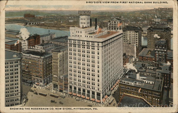 Bird's-Eye View from First National Bank Building Showing the Rosenbaum Co. New Store Pittsburgh Pennsylvania