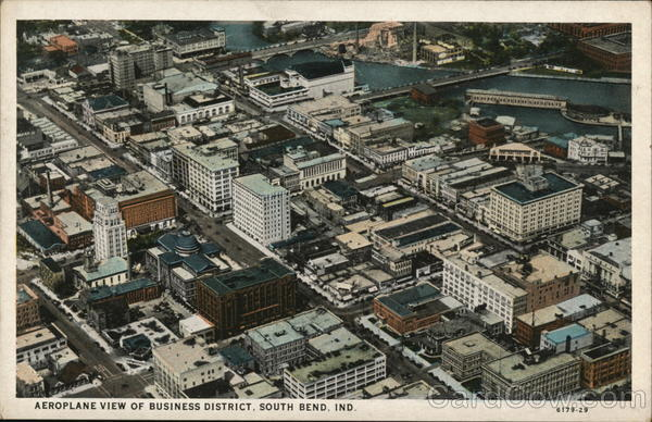 Aeroplane View of Business District South Bend Indiana