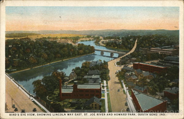 Bird's Eye View, Showing Lincoln Way East, St. Joe River and Howard Park South Bend Indiana