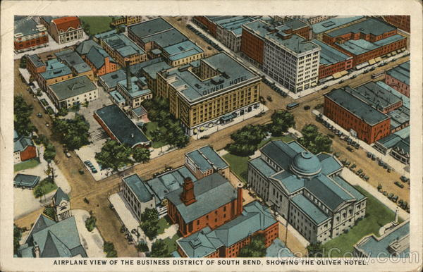 Airplane View of the Business District, Showing the Oliver Hotel South Bend Indiana
