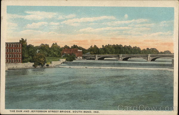 The Dam and Jefferson Street Bridge South Bend Indiana