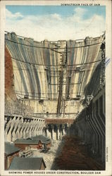 Downstream Face of Dam Showing Power House Under Construction, Boulder Dam