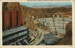 Boulder Dam, Showing Concrete Mixers, Colorado River Project