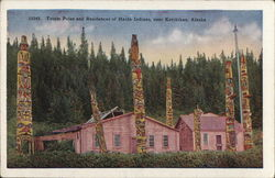 15342. Totem Poles and Residences of Haida Indians