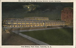 Night-time Scene Showing Grove's Arcade Building And Battery Park Hotel