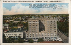 "Bird's-eye View showing Princess Martha, St. Petersburg, Florida, ""The Sunshine City."""