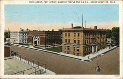 Civic Group, Post Office, Masonic Temple and Y.M.C.A. Postcard