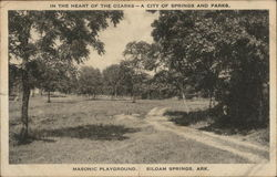 In the Heart of the Ozarks-A City of Springs and Parks Masonic Playground Postcard