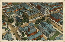 Airplane View of the Business District, Showing the Oliver Hotel Postcard