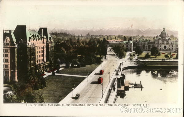 Empress Hotel and Parliament Buildings, Olympic Mountains in Distance Victoria Canada
