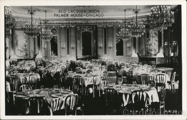 Palmer House Red Lacquer Room Chicago Il Postcard