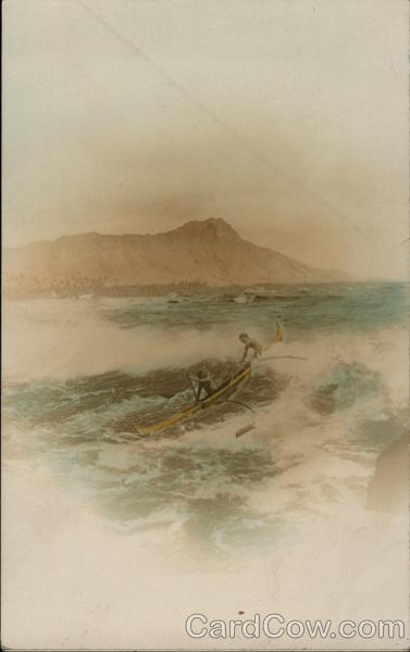 Two Men in aOutrigger at Sea, Tinted Canoes & Rowboats