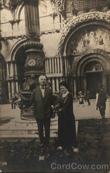 Dr. and Mrs. S. J. Podlewski in Front of St. Mark's Cathedral Venice Italy