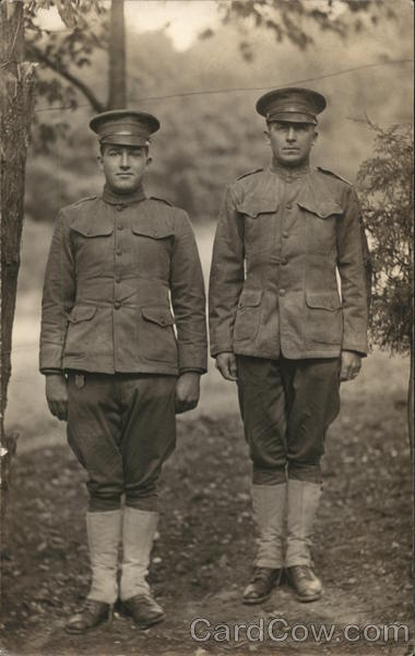 Two Soldiers Posing in Military Uniform