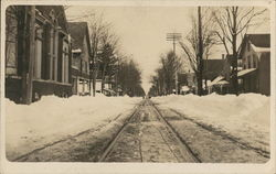 Trolley Tracks on Snowy Street
