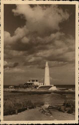 Lighthouse on Beach Postcard