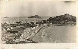 View of Town and Beach Postcard