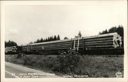 140 Ft. Fir Pilings Loaded on 3 Flat Cars, Western Washington