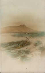 Two Men in aOutrigger at Sea, Tinted