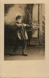 Boy Dressed as Indian, Bow & Arrow